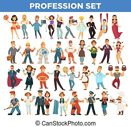 People professions and occupation specialists vector flat...