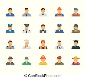 People professions and occupations icon set in flat design #1