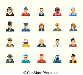 People professions and occupations icon set in flat design #3