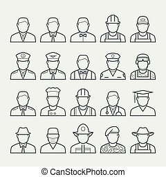 People professions and occupations icon set in thin line ...