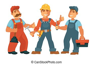 People professions builder constructor or carpenter mechanic tools vector flat isolated set