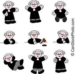 Illustrations set of cute cartoon lawyer in different poses