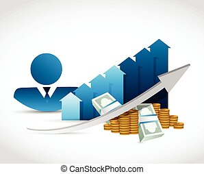 people profit percentages business graph illustration design...