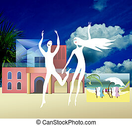 Happy people dancing in front of their house and personal ocean vew, that they just bought