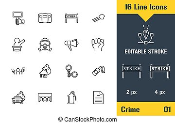 People Protest and Resist Police. Thin line icon - Outline flat vector illustration. Editable stroke pictogram. Premium quality graphics concept for web, logo, branding, ui, ux design, infographics.