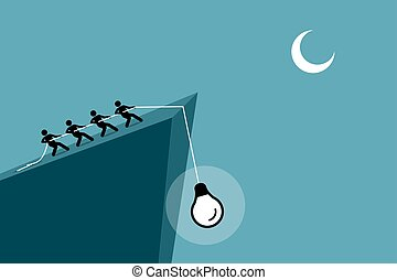 People pulling an idea up from falling down the cliff by using rope.