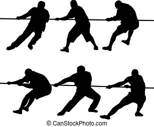 People pulling rope - Black silhouettes of people pulling...
