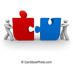 People Pushing Puzzle Pieces - Two figures push a red and...
