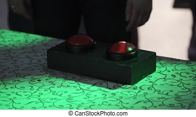 People pushing the buttons in game - People pushing the red...