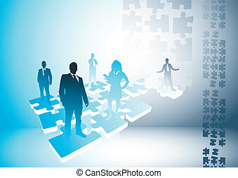 People Puzzle Connections - People on a puzzle. Vector...