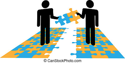Two people collaborate to join parts solve a business or personal puzzle problem