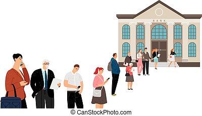 People queue at bank