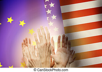 People raising hands and flag USA and UE on background.