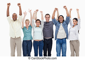 People raising their arms