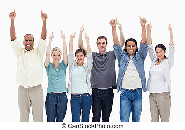 People raising their arms with the thumbs-up against white...