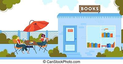 People read books flat vector illustration, cartoon happy ...