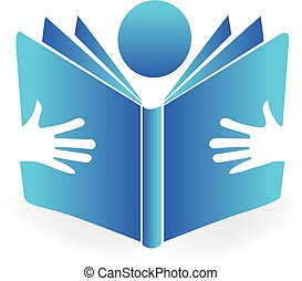 People reading a book logo