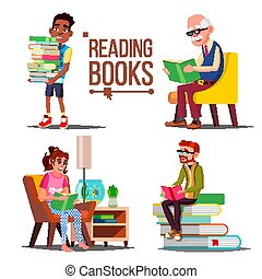 People Reading Books Vector. Big Stack Of Books. Education. Paper Book. Library. Man, Woman, Old Man, Child. Isolated Flat Cartoon Illustration
