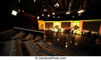 People ready for shooting TV shows in Ostankino TV center, studio NTV