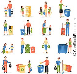 People Recycling Waste Flat Icons Collection