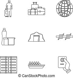 People refugees icons set, outline style
