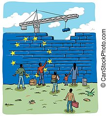 people refugees in front of an european wall flag