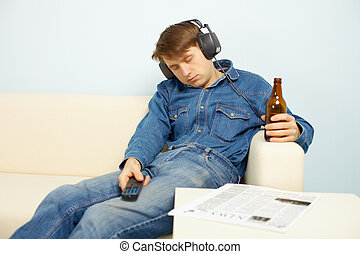 People relaxing at home after work