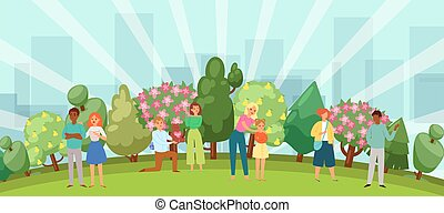 People relaxing in nature in a beautiful urban park, city skyline on the background vector illustration.