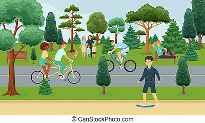 People relaxing in summer park, outdoor activities, happy families cartoon vector illustration. Man on bench, bicyclists, husband, wife with children and dog, parkland with trees. Park in summertime.
