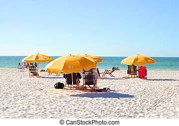beach chairs - people relaxing on beach chairs under...
