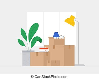 People relocated to new home, moving to new house. Paper boxes with various things - a clock, a lamp, flowers. Vector illustration in flat style.
