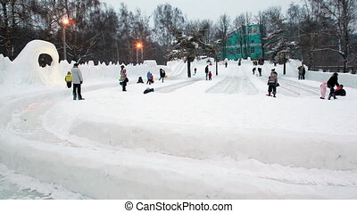 people rest in winter park, go for drive on cleared ice...