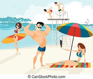 People rest on the beach - Vector illustration of people...