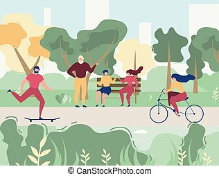 People Resting in City Park Vector Illustration