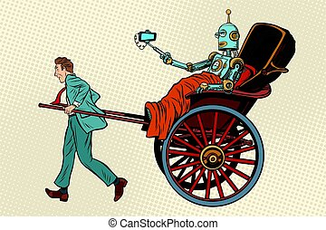 People rickshaw ride robot