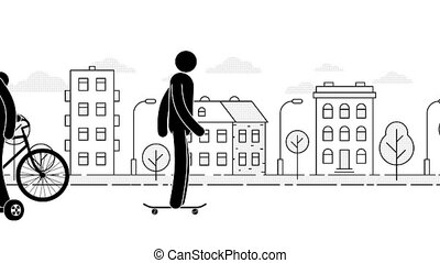 People ride around the city on various devices - hoverboard,...