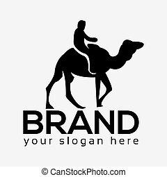 People rides on camel, camel logo. Flat design. Vector Illustration on white background