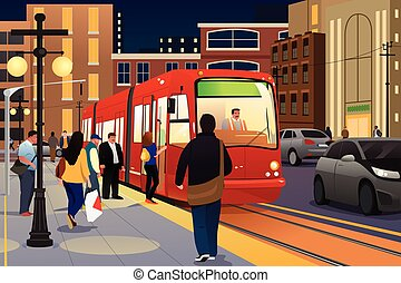 People Riding and Boarding a Street Car