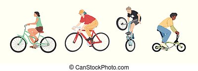 People riding bicycles of various types set, men, women and children on bikes