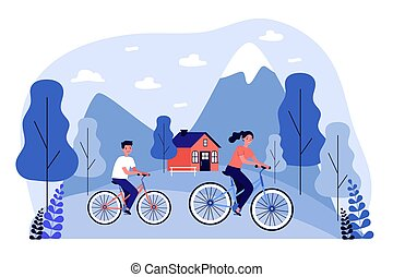 People riding bikes outdoors