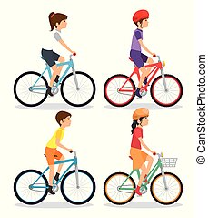 people riding bycicle vector illustration graphic design