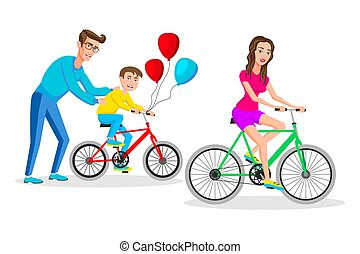 People riding on bicycles, active family vacation. Vector illustration