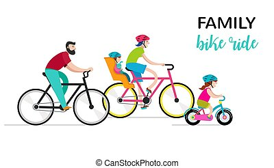 People riding on bicycles in the park, active family vacation