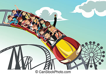 A vector illustration of people riding roller coaster in an amusement park