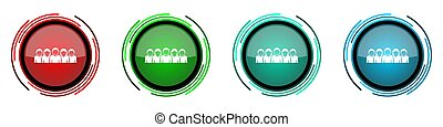 People round glossy vector icons, set of buttons for webdesign, internet and mobile phone applications in four colors options isolated on white background