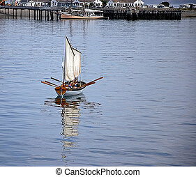 People Rowing Sailboat
