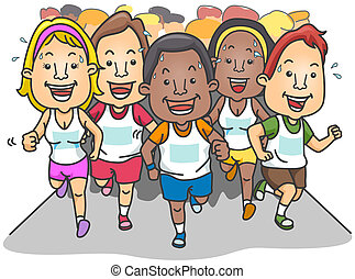 Marathon - People Running a Marathon with clipping path