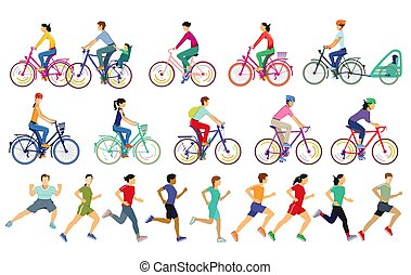 People running and cycling while doing sports