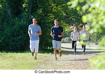 people running are together outdoors