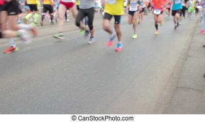 People running at half Marathon - PRAGUE, CZECH REPUBLIC -...